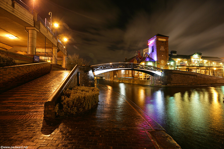 Canal at night by Birmingham photographer Paul Ward