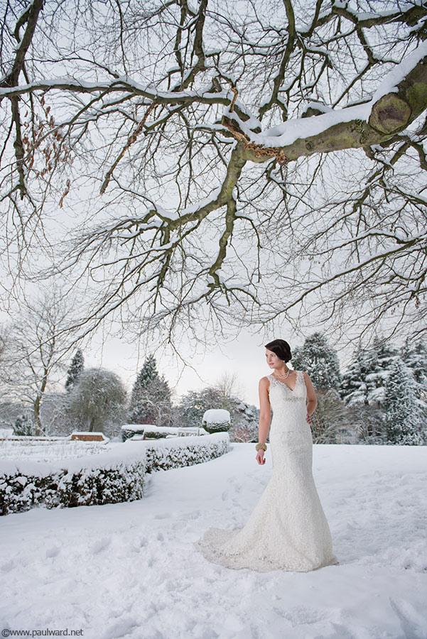 snowy bride by Birmingham wedding photographer Paul Ward