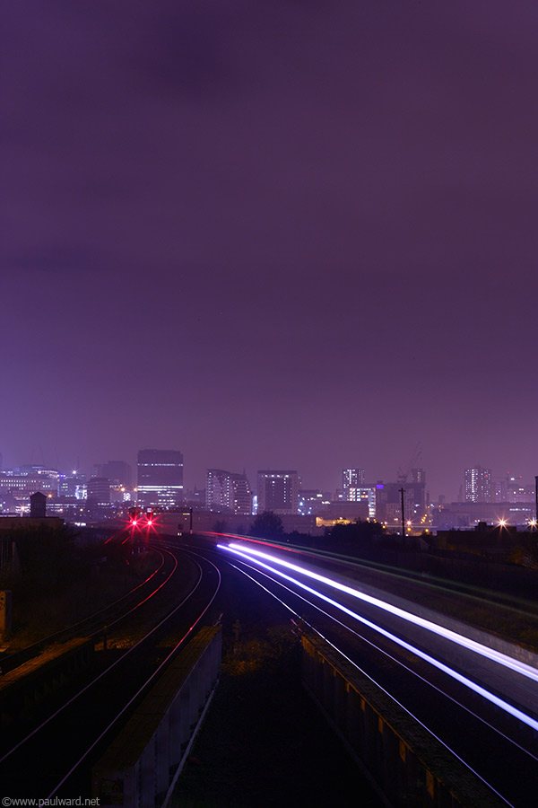 Train at night by Birmingham architectural photographer Paul Ward