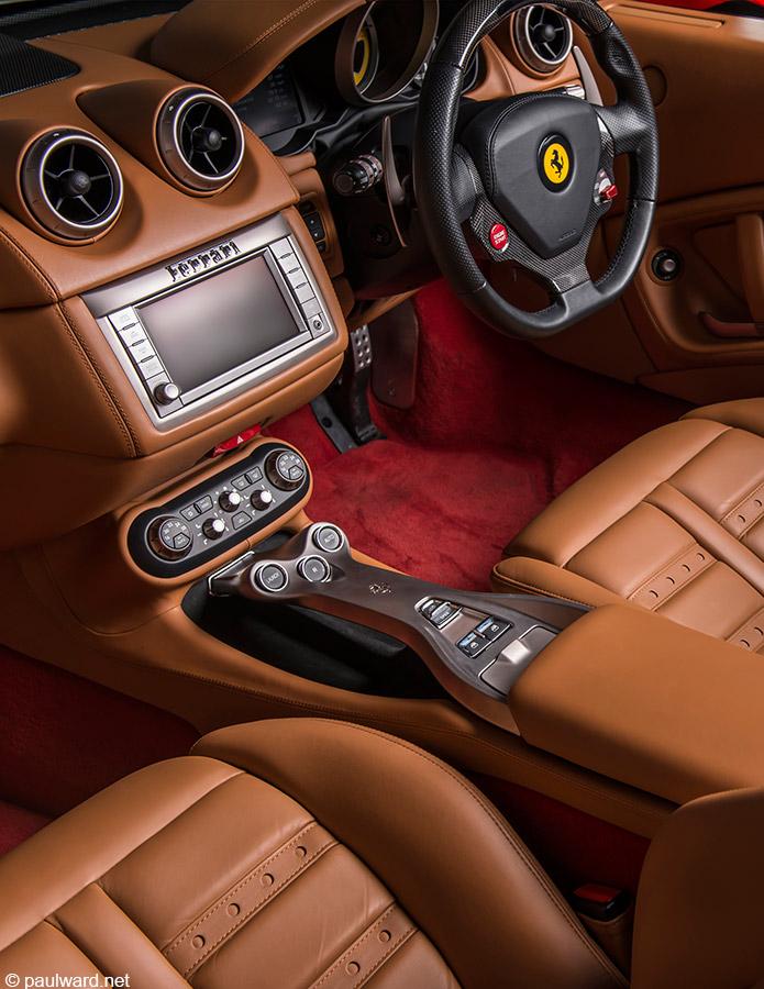Ferrari interior by automotive photographer Paul Ward