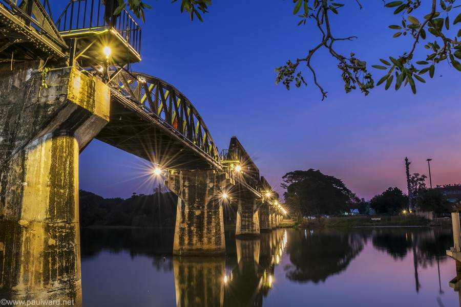 Bridge over the river Kwai at sunset by Birmingham travel photograpger Paul Ward