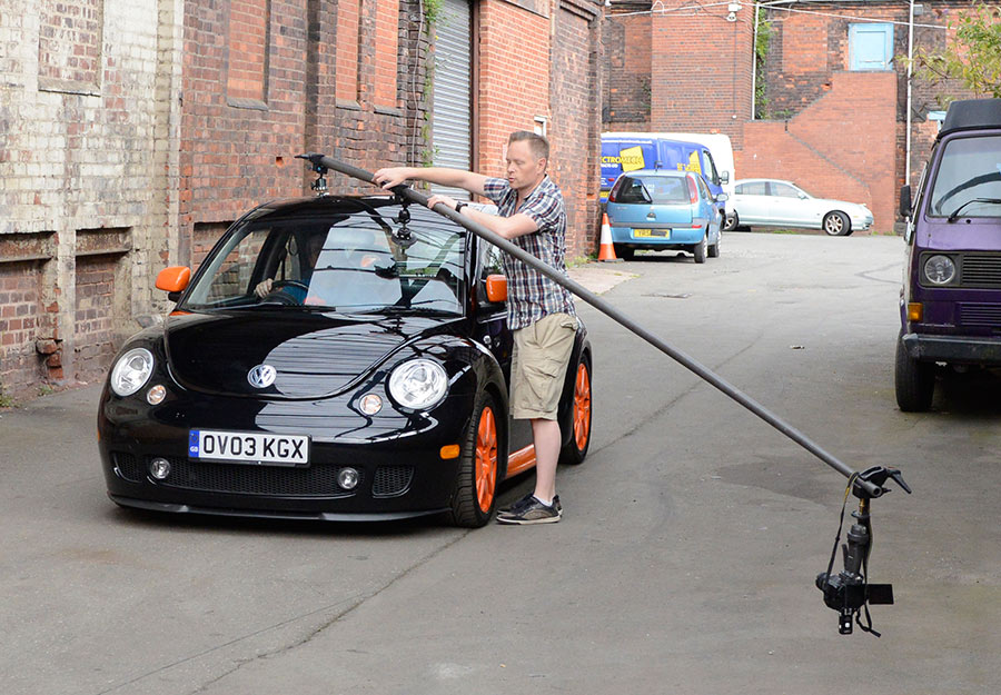 Car shoot behind the scenes pole rig