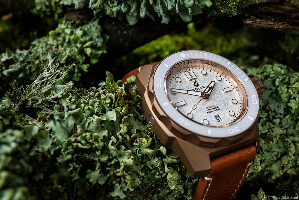 Boldr Watch, Boldr White Knight Bronze watch photographed by Commercial product photographer Paul Ward, Birmingham Uk