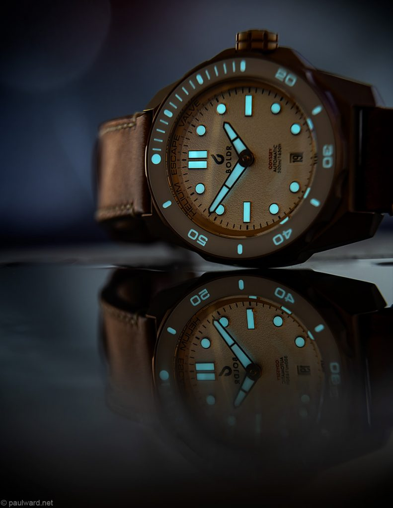 Boldr White Knight Bronze watch lume shot photographed by Commercial product photographer Paul Ward, Birmingham Uk