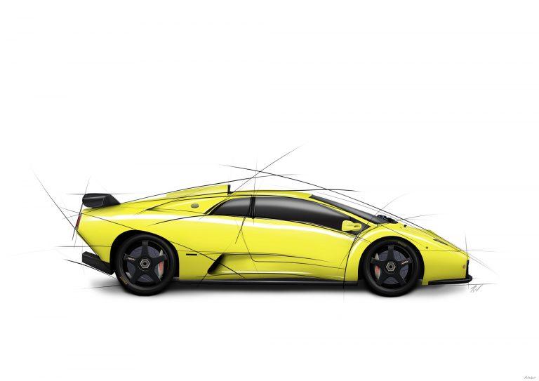 Lamborghini Diablo GT car artwork by Birmingham car photographer Paul Ward