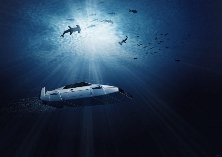 Lotus Esprit S1 Submarine car artwork by Birmingham car photographer Paul Ward, the spy who loved me, James Bond car