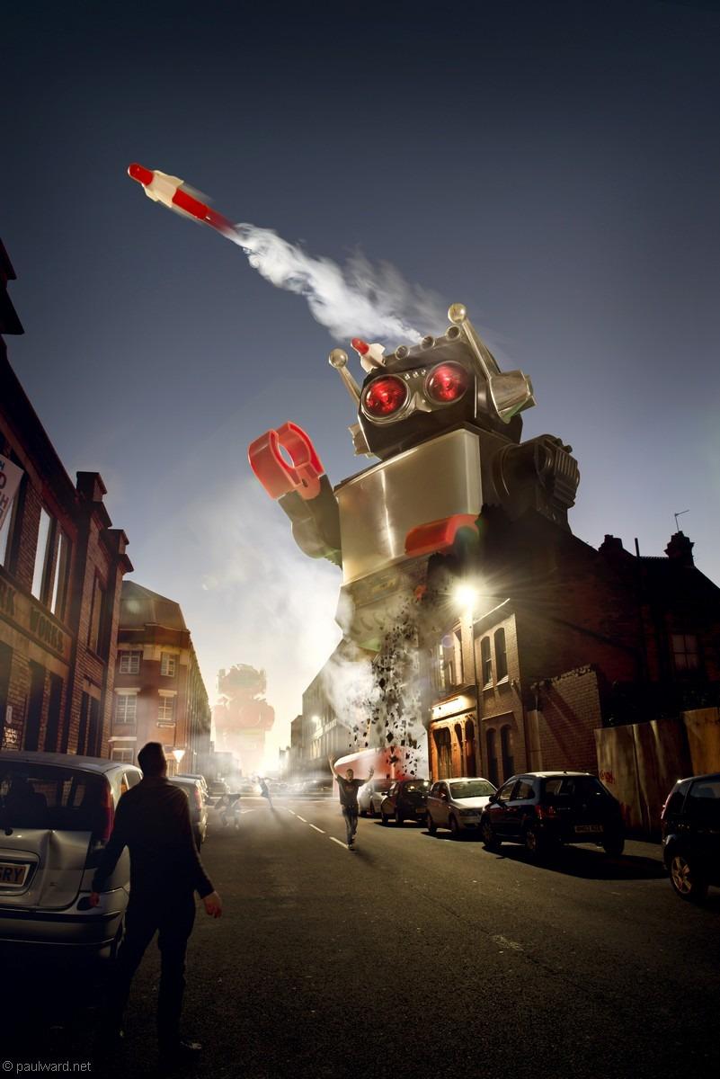 Robot invasion, Creative shoot for Digital SLR photography magazine by creative photographer Paul Ward